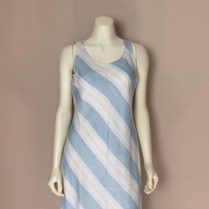 LIZ CLAIBORNE Maxi Dress Linen White Blue Stripe